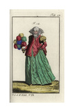 Woman of Naples with Her Face Veiled and a Feather Fan in Her Hand, 16th Century Giclee Print