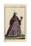Woman of Naples with a Feather Fan in Her Hand, 16th Century Giclee Print