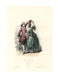 Paris Fashions, Couple Dancing, Reign of Louis XV, 1763 Giclee Print