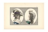 Woman in English-Ingenue Headdress with Feathers, and Woman with Hedgehog Hairstyle and Lazy Giclee Print