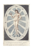 Figure of a Naked Woman Holding a Sphere Within a Zodiac Circle Giclee Print