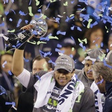 NFL Super Bowl 2014: Feb 2, 2014 - Broncos vs Seahawks - Russell Wilson Plakat av Chris O'Meara