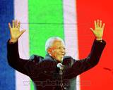 Former South African President Nelson Mandela speaks at the Celebrate South Africa Concert April 29 Photo