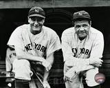 New York Yankees Lou Gehrig 4 and Babe Ruth 3 posed on the dugout steps circa 1932. Photo