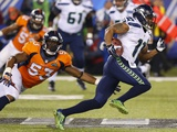 NFL Super Bowl 2014: Feb 2, 2014 - Broncos vs Seahawks - Percy Harvin Fotografisk trykk av Paul Sancya
