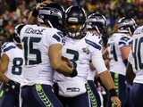NFL Super Bowl 2014: Feb 2, 2014 - Broncos vs Seahawks - Russell Wilson, Jermaine Kearse Photographic Print by Ted S. Warren