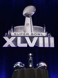 NFL Super Bowl 2014: Feb 2, 2014 - Broncos vs Seahawks - Super Bowl XLVIII Helmets, Lombardi Trophy Photographic Print by Matt Slocum