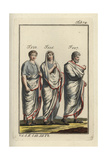 Three Roman Men Wearing the Toga in Different Ways Giclee Print