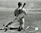 Mickey Mantle Kneeling in the On Deck Circle Photo
