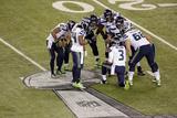 NFL Super Bowl 2014: Feb 2, 2014 - Broncos vs Seahawks - Russell Wilson, Marshawn Lynch Fotografisk trykk av Charlie Riedel