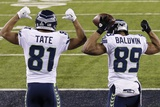 NFL Super Bowl 2014: Feb 2, 2014 - Broncos vs Seahawks - Golden Tate, Doug Baldwin Photographic Print by Gregory Bull