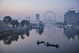 Fishermen Work the Hai River in the Shadow of the Ferris Wheel in Tianjin Photographic Print by Michael S. Yamashita