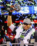 Russell Wilson with the Vince Lombardi Trophy Super Bowl XLVIII Photo