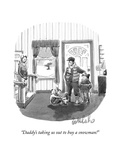 """""""Daddy's taking us out to buy a snowman!"""" - New Yorker Cartoon Premium Giclee Print by Liam Walsh"""