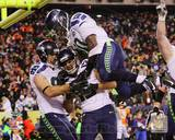 Zach Miller, Jermaine Kearse, & Derrick Coleman Celebrate Kearse's Touchdown Super Bowl XLVIII Photo