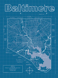Baltimore Artistic Blueprint Map Print by Christopher Estes