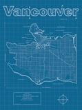 Vancouver Artistic Blueprint Map Affiches par Christopher Estes