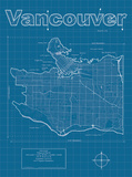 Vancouver Artistic Blueprint Map Prints by Christopher Estes