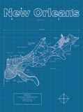New Orleans Artistic Blueprint Map Posters by Christopher Estes