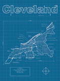 Cleveland Artistic Blueprint Map Print by Christopher Estes
