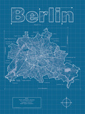 Berlin Artistic Blueprint Map Posters by Christopher Estes