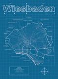 Wiesbaden Artistic Blueprint Map Print by Christopher Estes