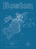 Boston Artistic Blueprint Map Prints by Christopher Estes