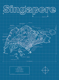 Singapore Artistic Blueprint Map Prints by Christopher Estes