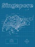Singapore Artistic Blueprint Map Art Print by Christopher Estes