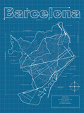 Barcelona Artistic Blueprint Map Prints by Christopher Estes