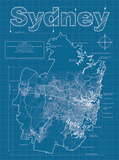 Sydney Artistic Blueprint Map Prints by Christopher Estes