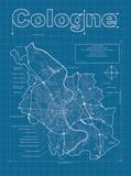 Cologne Artistic Blueprint Map Posters av Christopher Estes