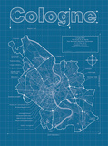 Cologne Artistic Blueprint Map Prints by Christopher Estes