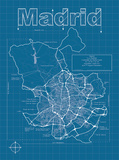 Madrid Artistic Blueprint Map Prints by Christopher Estes