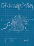 Memphis Artistic Blueprint Map Posters by Christopher Estes