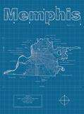 Memphis Artistic Blueprint Map Posters by Christopher Estes