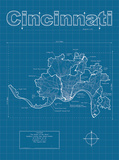 Cincinnati Artistic Blueprint Map Prints by Christopher Estes
