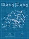 Hong Kong Artistic Blueprint Map Poster von Christopher Estes