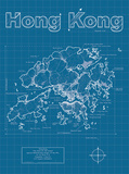 Hong Kong Artistic Blueprint Map Posters by Christopher Estes