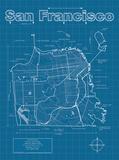San Francisco Artistic Blueprint Map Poster von Christopher Estes