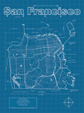 San Francisco Artistic Blueprint Map Poster by Christopher Estes