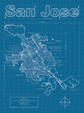 San Jose Artistic Blueprint Map Prints by Christopher Estes