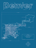 Denver Artistic Blueprint Map Posters by Christopher Estes