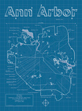Ann Arbor Artistic Blueprint Map Prints by Christopher Estes