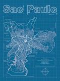 Sao Paulo Artistic Blueprint Map Affiche par Christopher Estes