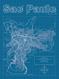 Sao Paulo Artistic Blueprint Map Print by Christopher Estes