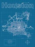 Houston Artistic Blueprint Map Poster von Christopher Estes