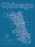 Chicago Artistic Blueprint Map Poster by Christopher Estes