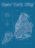 New York City Artistic Blueprint Map Affiches par Christopher Estes