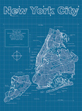 New York City Artistic Blueprint Map Prints by Christopher Estes